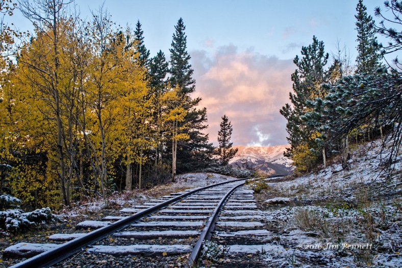 Snowy autumn colors at the Rocky Point tracks along Boreas Pass Road, Colorado.